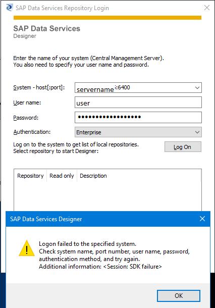errore Data Services login